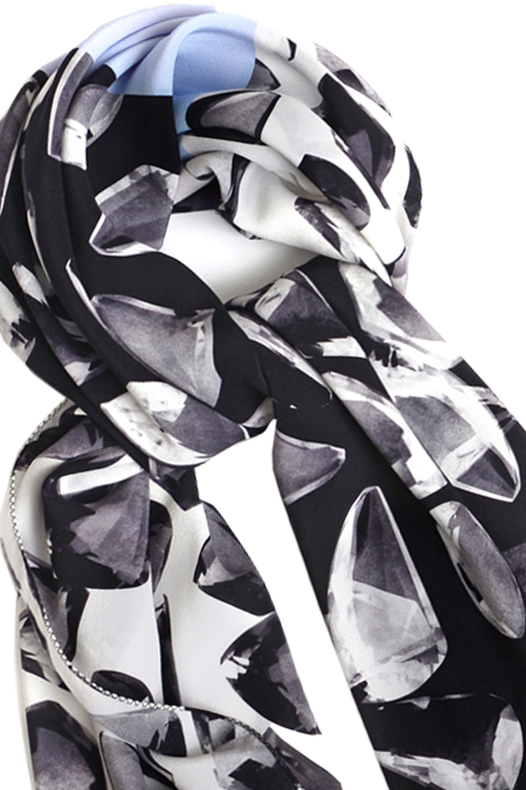BLACK QUARTZ 70 X 70 CM SILK NECK SCARF