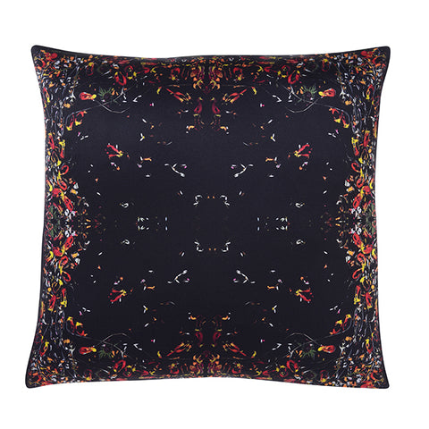 BLACK INK SILK SATIN CUSHION 45 X 45