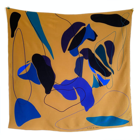 FRIDA YELLOW SILK 90 X 90CM SCARF