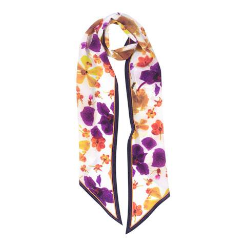 FROST YELLOW LONG SILK SKINNY SCARF