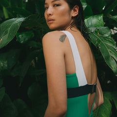 KARLA ONE PIECE SWIMSUIT IN GREEN/ BLUE/ WHITE