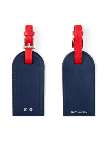 BLUE LEATHER LISA KING X JIM THOMPSON X SIWILAI LUGGAGE TAG