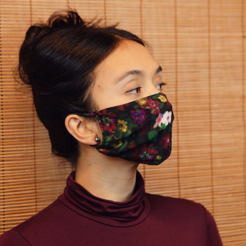 SILK FACE MASK - GREEN ORCHID CAMO