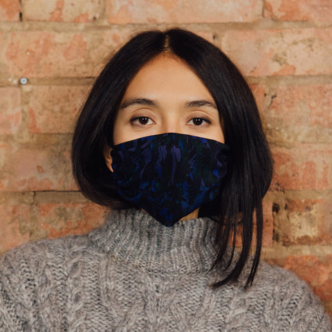 ELASTIC SILK MASK- POPPY CAMO BLUE