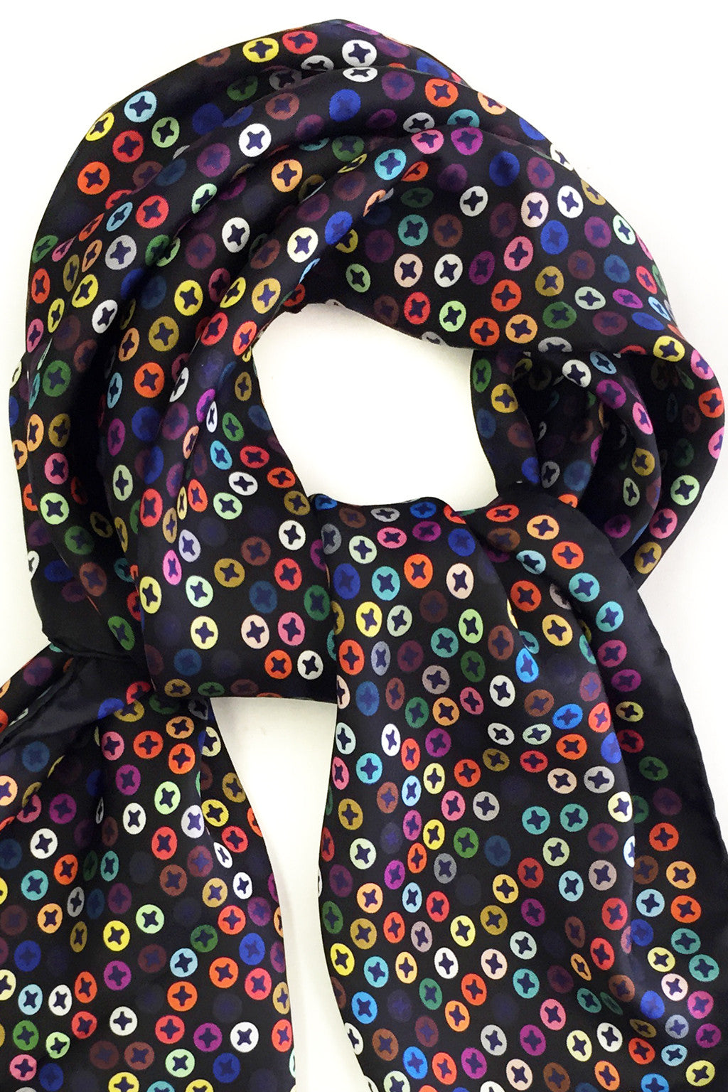 MULTI SILK TWILL CANDY SCREWPRINT 90X90CM SCARF