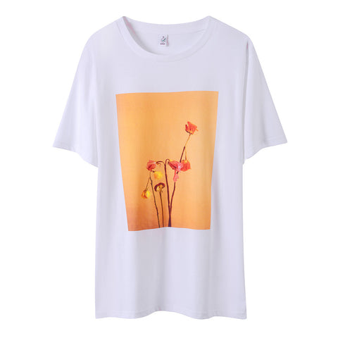 GERBERA EMBROIDERED COTTON TEE