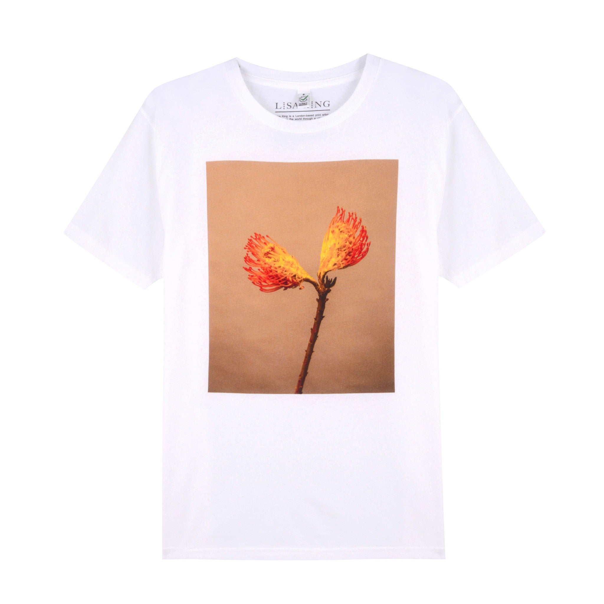 WHITE SPLIT PROTEA UNISEX T-SHIRT