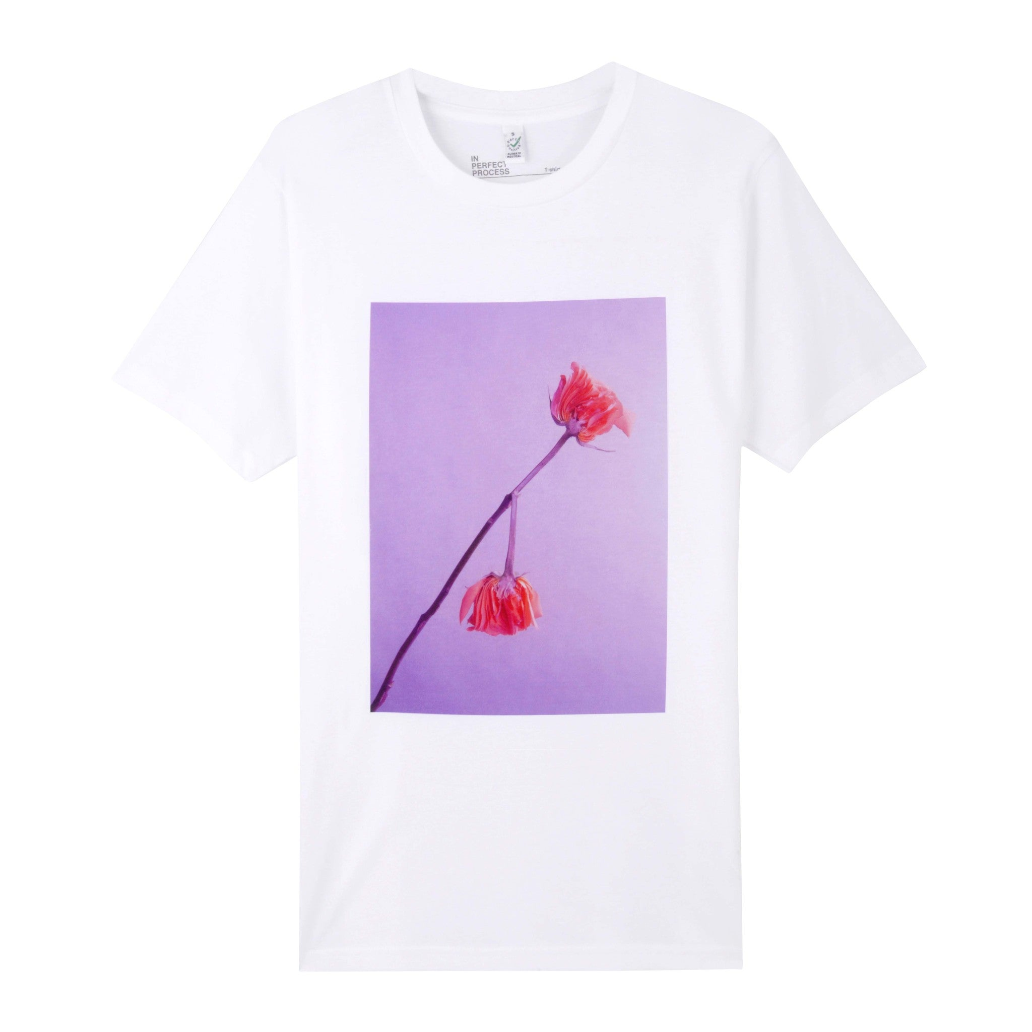 WHITE SPLIT ROSE UNISEX T SHIRT