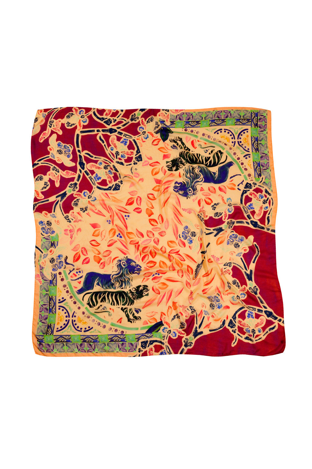 YELLOW CASHMERE & MODAL LION OF EDEN 140 X 140 CM SCARF