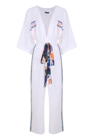 AMELIE JUMPSUIT IN EMBROIDERED WHITE LINEN