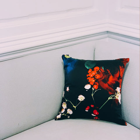 PRINT LAB: BERRY SILK CUSHION SMALL