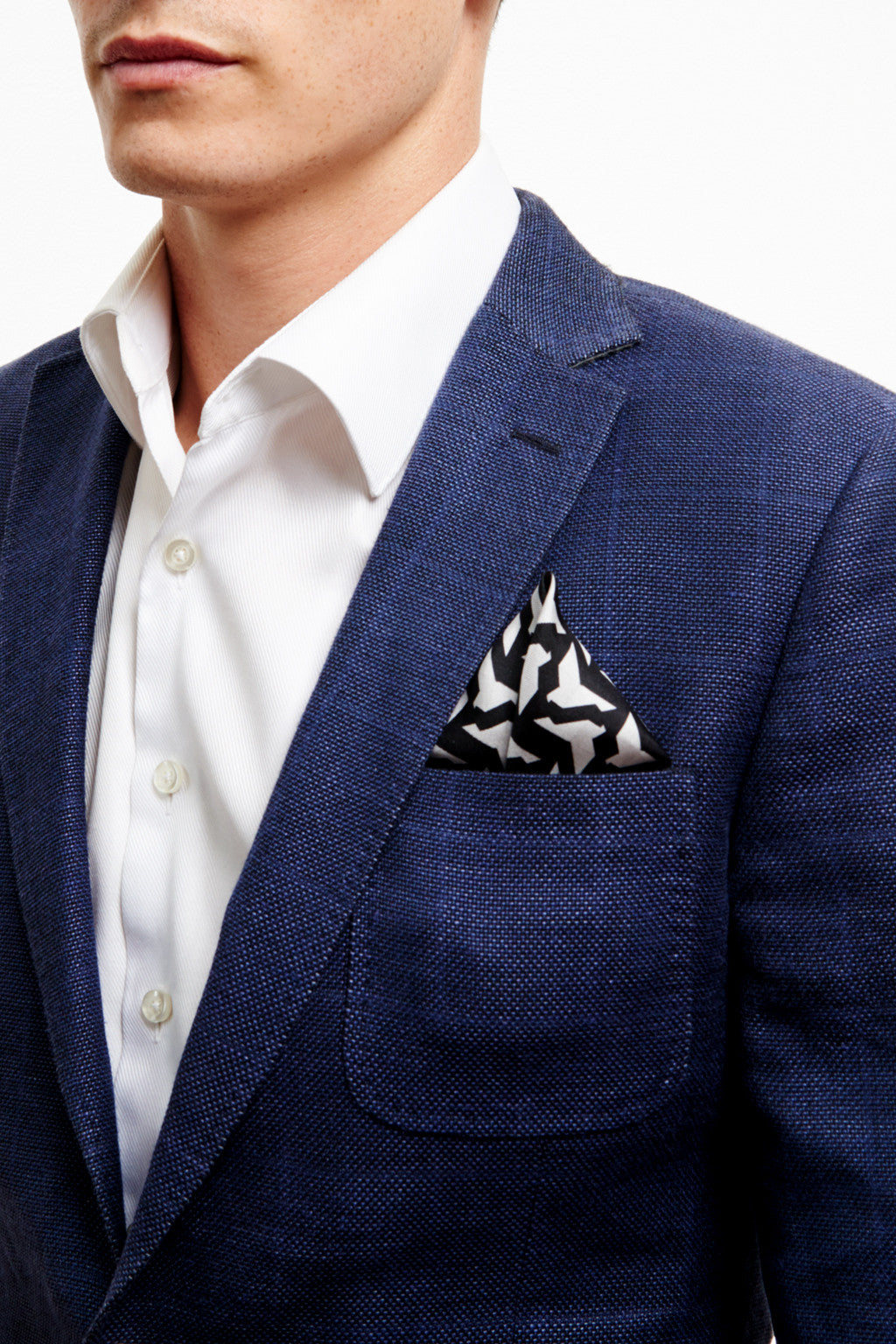 BLACK ORIGAMI BIRD POCKET SQUARE