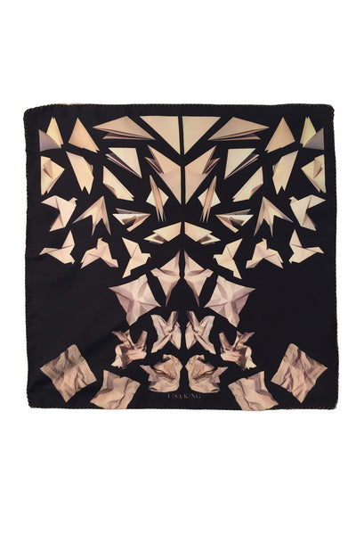 BLACK PAPER DOVE SILK POCKET SQUARE