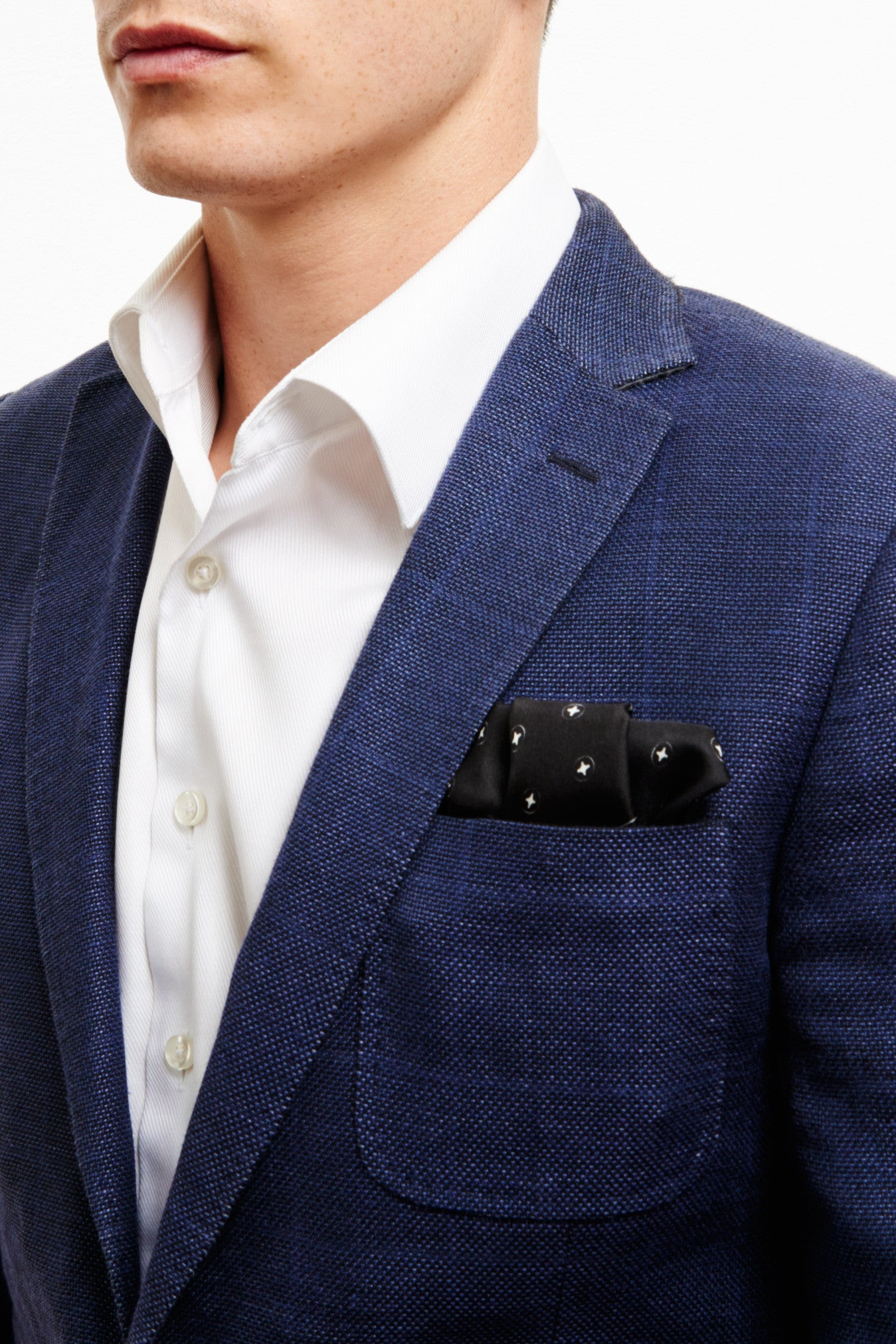 BLACK & WHITE SILK TWILL POCKET SQUARE
