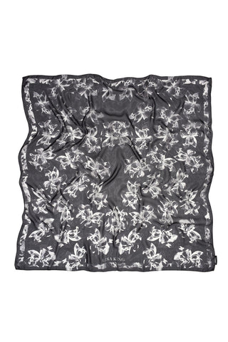 BLACK BLOOM SILK CHIFFON 140 X 140 CM SCARF