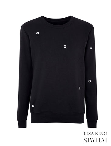 BLACK UNISEX SCREWPRINT SWEATSHIRT