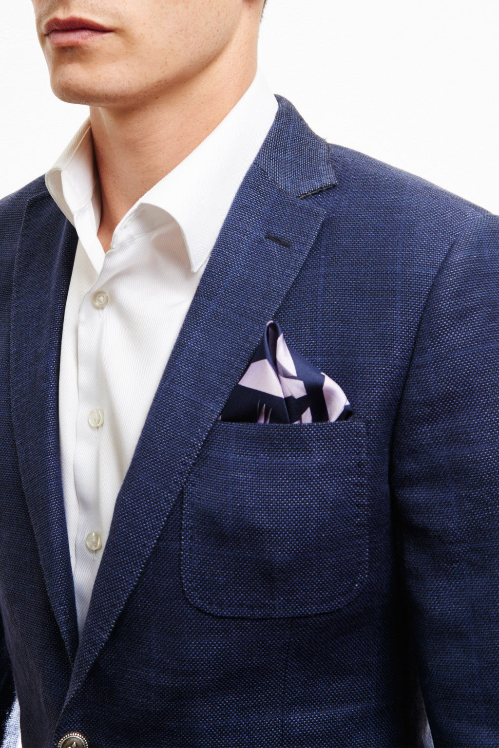 BLUE PAPER DOVE SILK POCKET SQUARE