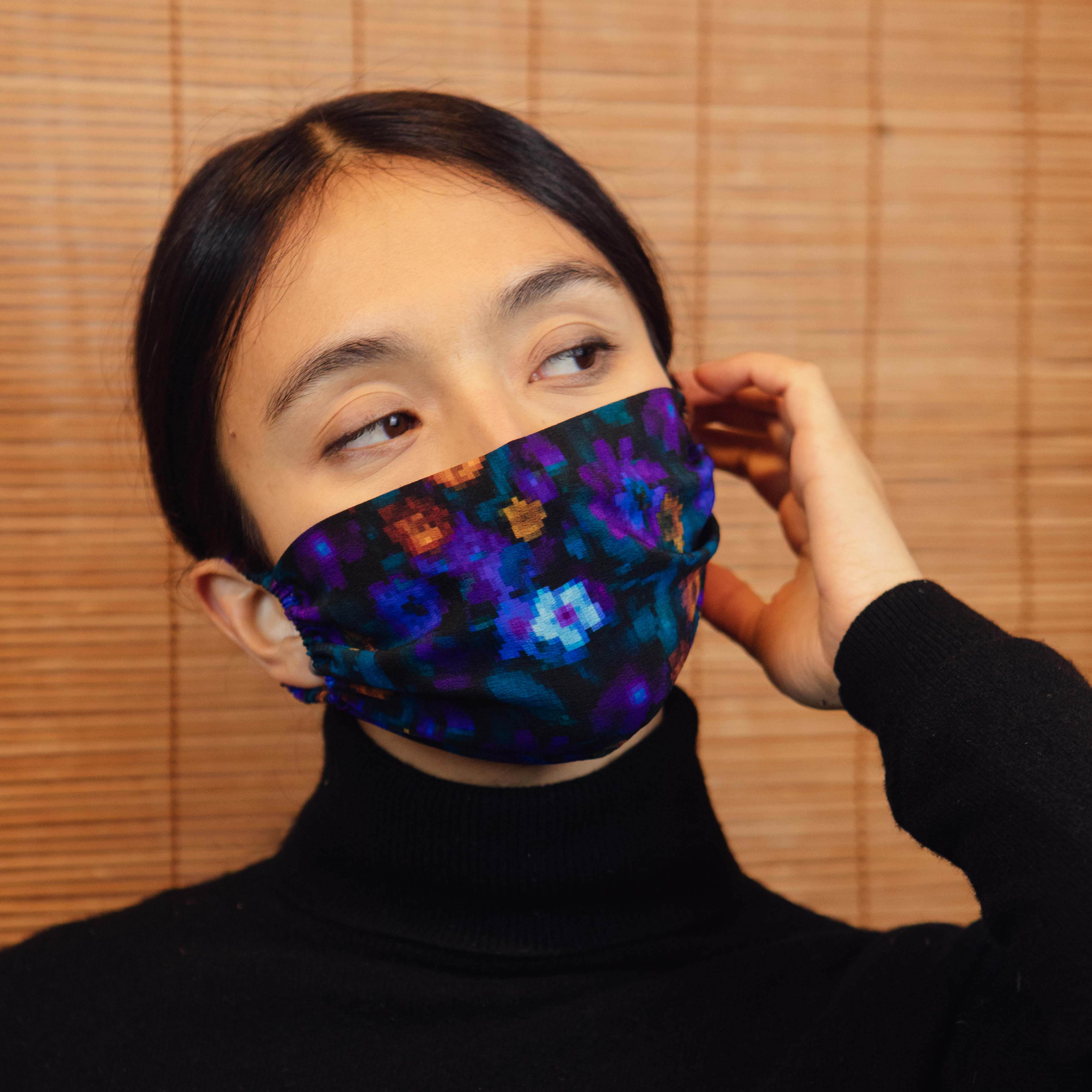ELASTIC SILK FACE MASK- BLUE DIGI FLORA