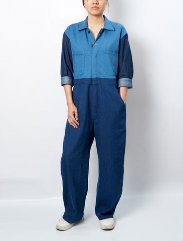 LISA KING X SIWILAI WHITE SCREWPRINT DENIM JUMPSUIT