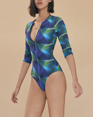 GREEN PLAID PRINT REMY LONGSLEEVE SWIMSUIT