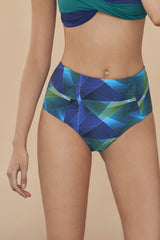 GREEN PLAID PRINT SAWYER HIGH WAISTED BIKINI BOTTOM