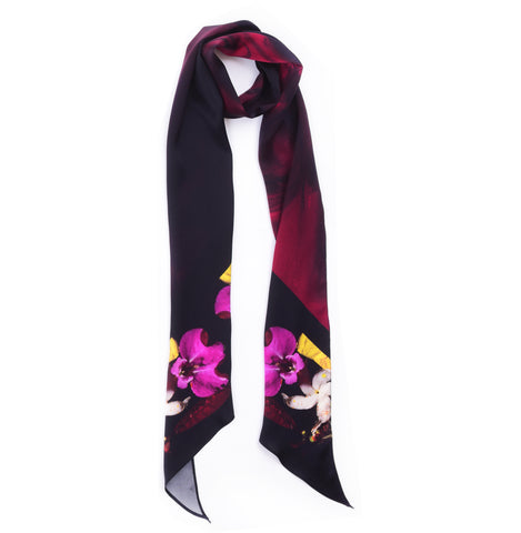 FROST BLACK LONG SKINNY SCARF