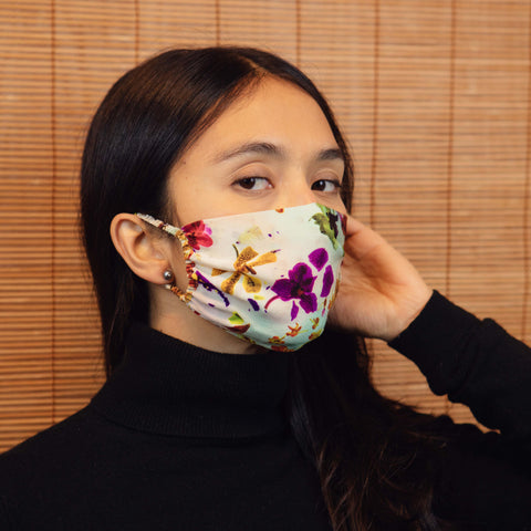 ELASTIC SILK MASK- LIGHT FLORA