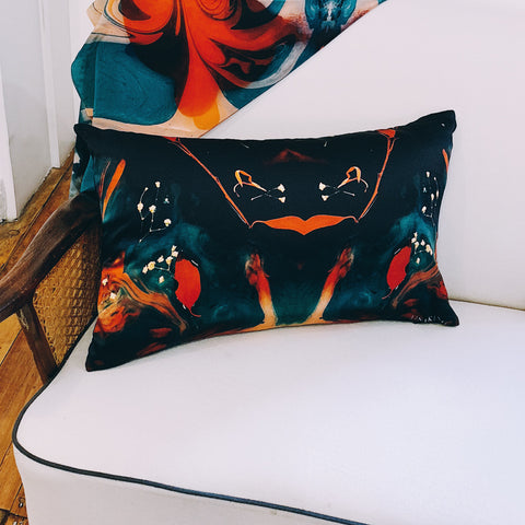 PRINT LAB: CARDINAL SILK CUSHION SMALL