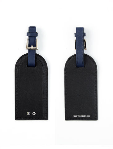 BLACK LEATHER LISA KING X JIM THOMPSON X SIWILAI LUGGAGE TAG