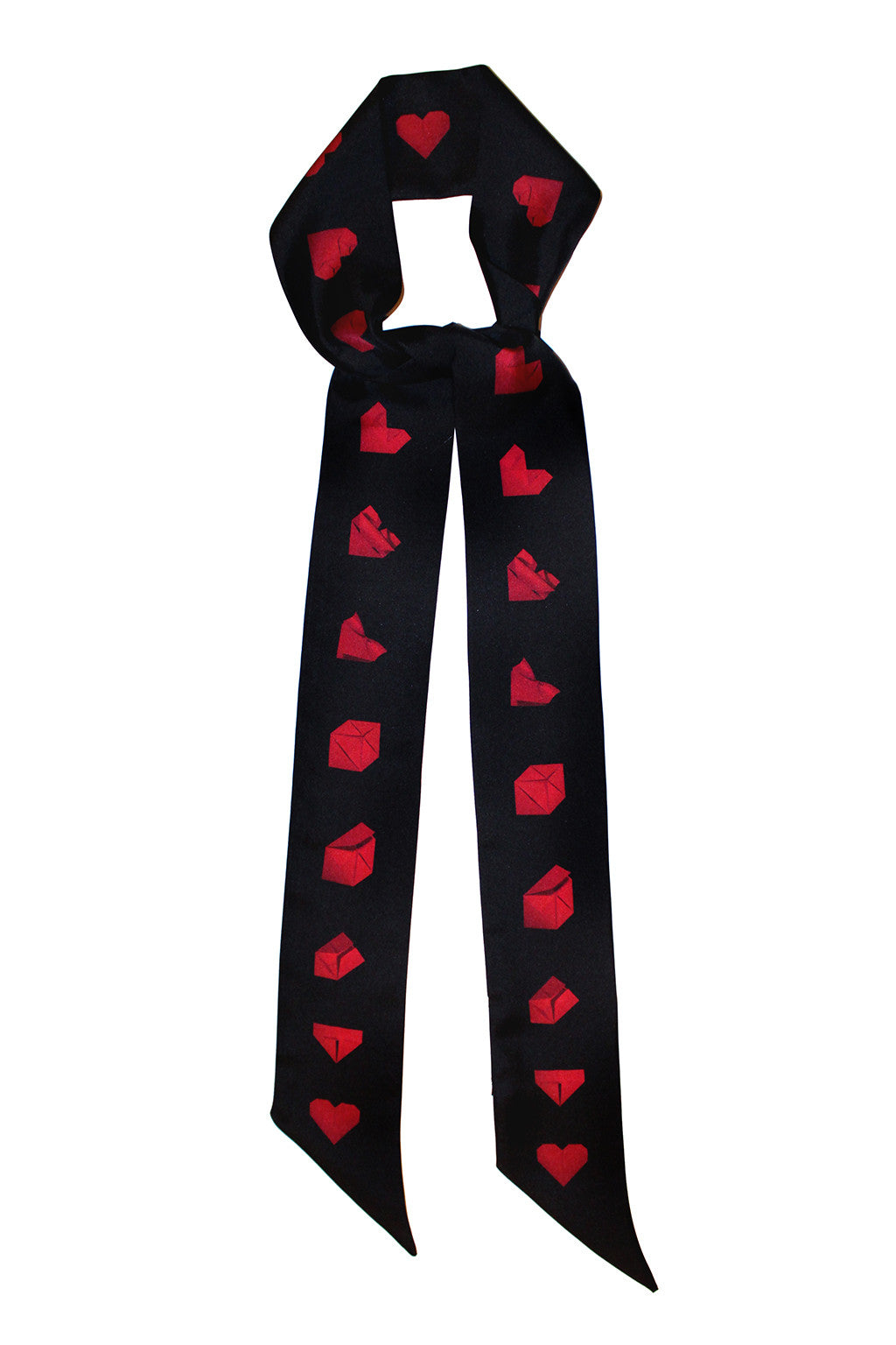 BLACK AND RED PAPER HEART SILK SKINNY SCARF