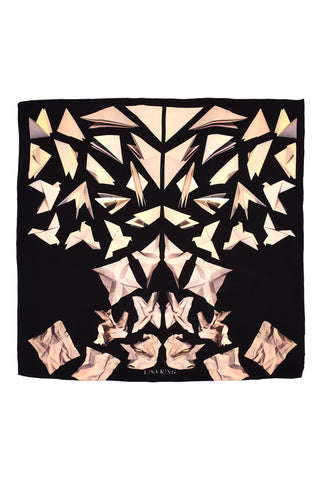 BLACK PAPER DOVE SILK 140 X 140 CM SCARF