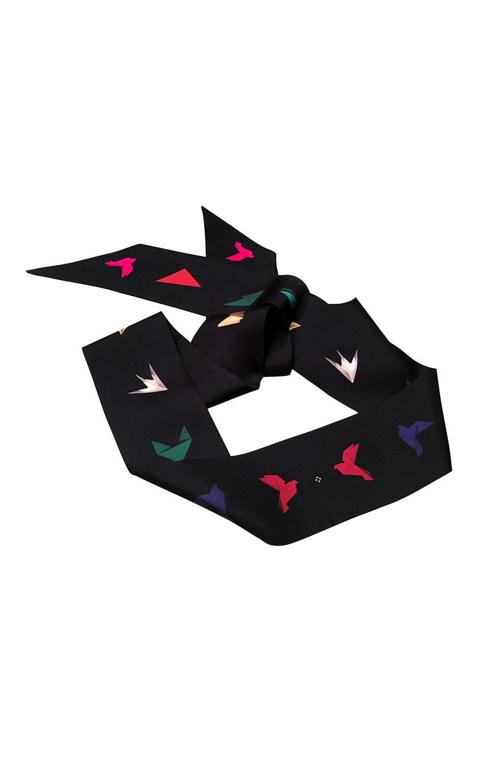 MULTICOLOUR ON BLACK PAPER DOVE SILK SKINNY SCARF