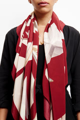 RED PAPER DOVE SILK 140 X 140 CM SCARF