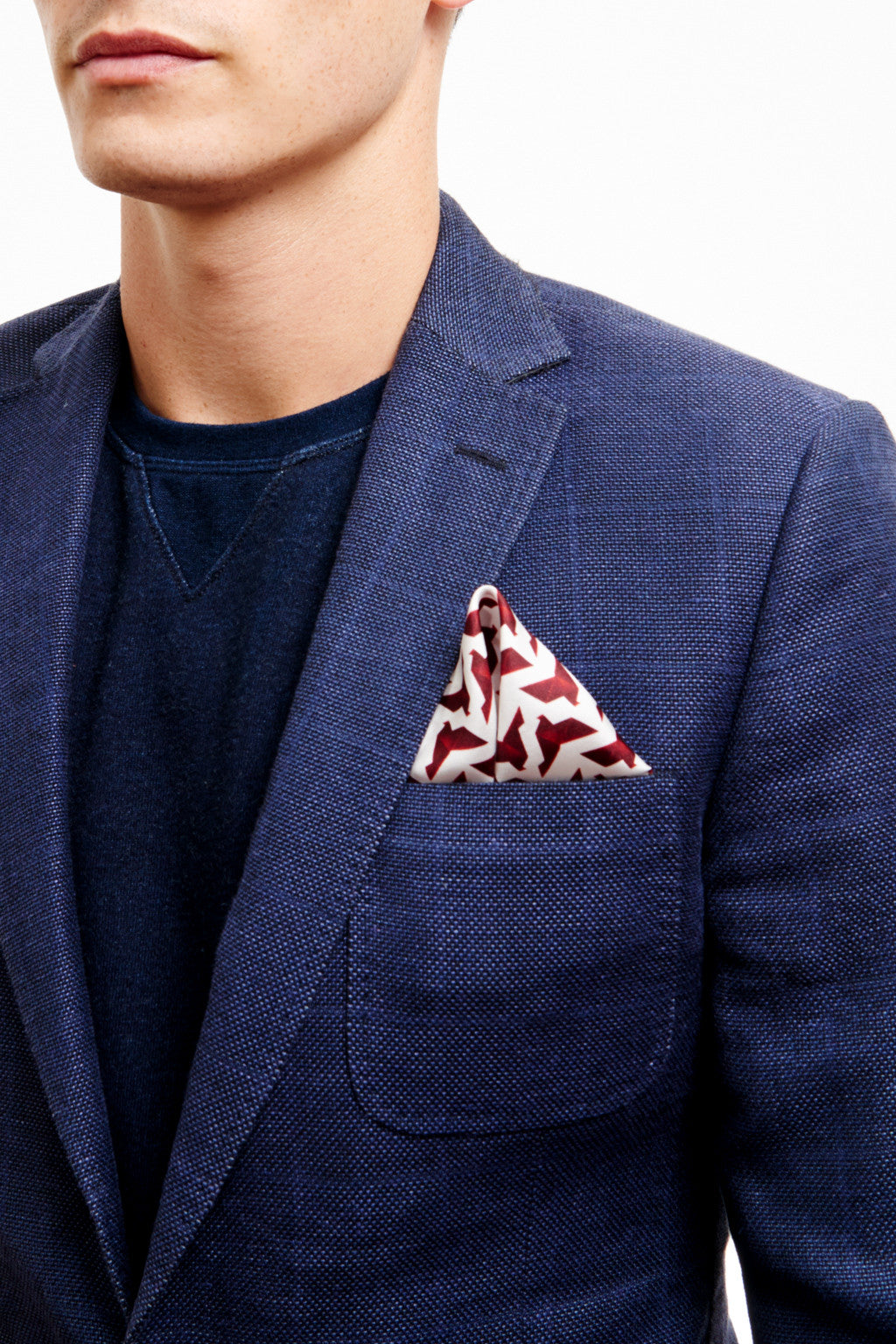 RED ORIGAMI BIRD POCKET SQUARE