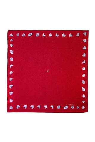 RED PAPER HEART SILK POCKET SQUARE