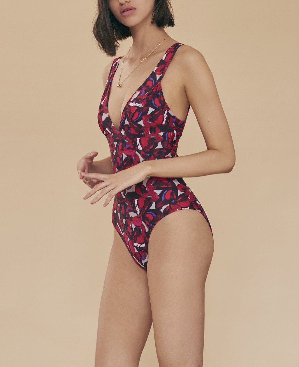 RED ORCHID CAMO KARLA SWIMSUIT
