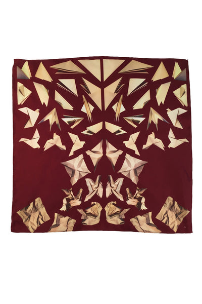 RED PAPER DOVE SILK POCKET SQUARE