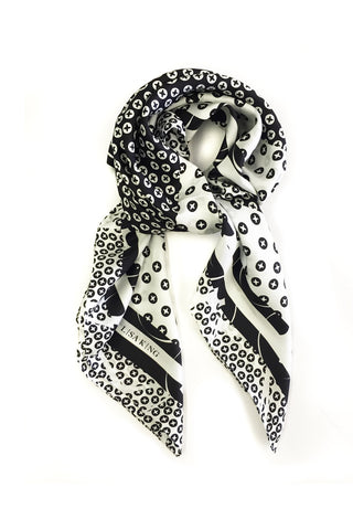 BLACK AND WHITE SILK SCREWPRINT 90 x 90CM SCARF