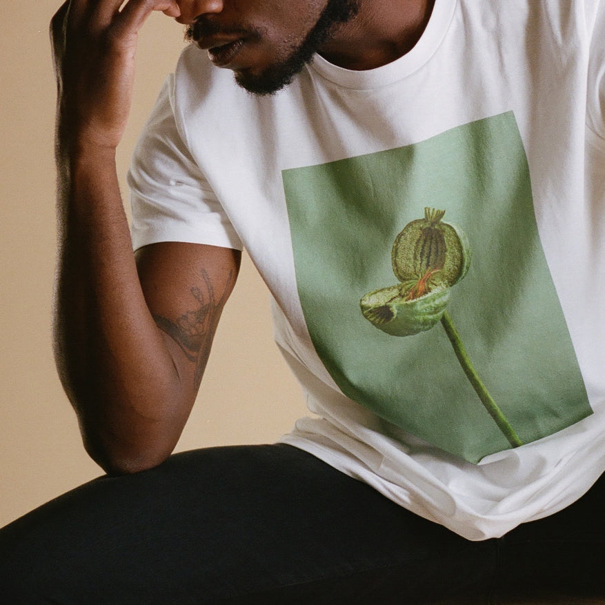 GREEN SPLIT POPPY UNISEX T SHIRT