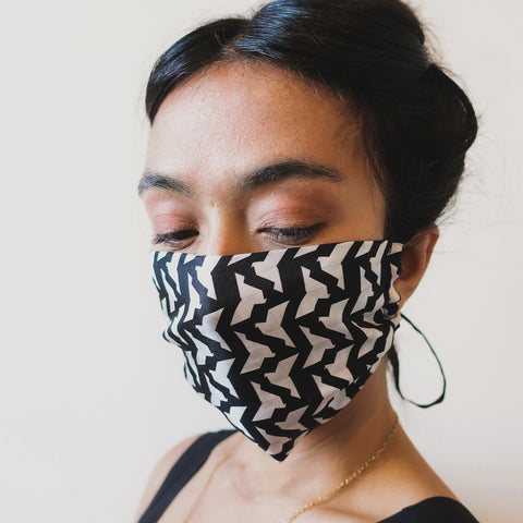 SILK FACE MASK - BLACK PAPER DOVE