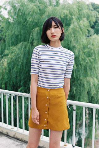 SIDE PARTY stripe tee