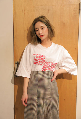 STYLENANDA split statement print T-shirt