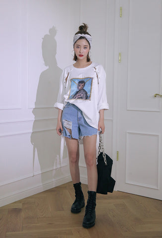 STYLENANDA 	Snap-Buttoned Raglan Graphic Print Patch T-Shirt