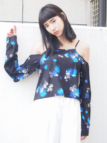 EMODA flower print off shoulder top