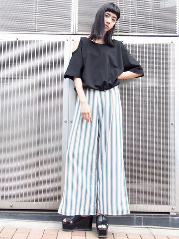 EMODA bright stripe wide pants