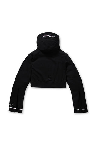 SUPER COMMA B unique crop hood t-shirts(black)