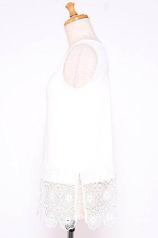 AS KNOW AS lace hem tank top
