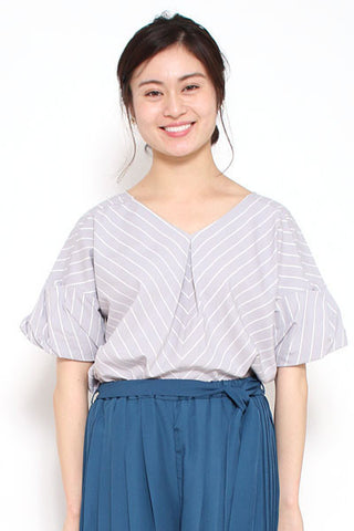AS KNOW AS stripe v neck blouse