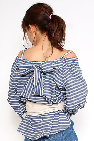 AS KNOW AS cold shoulder blouse with ribbon on back