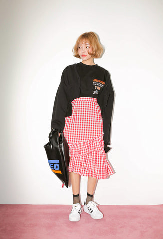 STYLENANDA flounce trim tiered gingham skirt
